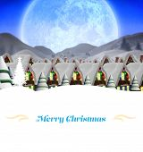 stock photo of quaint  - Christmas greeting card against quaint town with bright moon - JPG