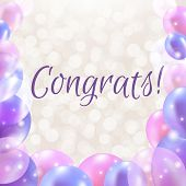 picture of congrats  - Congrats Card With Balloons With Gradient Mesh - JPG