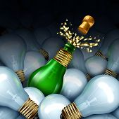 foto of lightbulb  - Happy new year idea concept as a group of light bulbs and a green glass Champagne or sparkling wine bottle shaped as a lightbulb with splash and flying cork as a celebration symbol of original creative party planning for New year - JPG