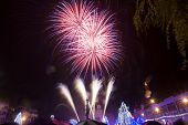 image of guy fawks  - Colourful fireworks  - JPG