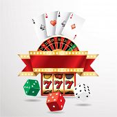 stock photo of roulette table  - vector gambling casino elements with blank banner - JPG