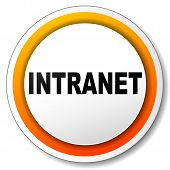stock photo of intranet  - illustration of white and orange icon for intranet - JPG