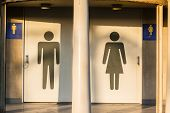 stock photo of handicap  - A black sign printed on a public restroom door indicating whether its occupants are intended to be male - JPG