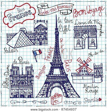 Set of Paris landmarkletteringDoodle sketchy