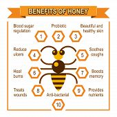 stock photo of honey bee hive  - Infographic placard about benefits of honey - JPG