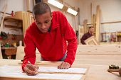 picture of carpentry  - Apprentice Working With Plans In Carpentry Workshop - JPG
