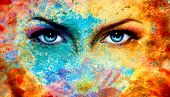 picture of  eyes  - A pair of beautiful blue women eyes beaming color rust effect painting collage violet makeup - JPG