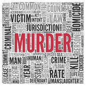 stock photo of murders  - Close up Red MURDER Text at the Center of Word Tag Cloud on White Background - JPG