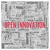 foto of open-source  - Close up Red OPEN INNOVATION Text at the Center of Word Tag Cloud on White Background - JPG