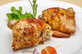 stock photo of roast chicken  - Roasted chicken thighs with herbs and spices - JPG