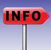 image of more info  - information sign  banner or label to search more details and find online info  - JPG