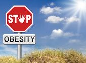 picture of obese  - obesity prevention stop over weight start campaign with low fat diet for obese children and adults with eating disorder - JPG
