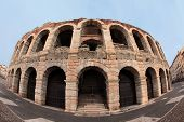 picture of arena  - fisheye view of ancient arena of Verona - JPG