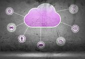 pic of wall cloud  - Colorful cloud with business icons on cement wall - JPG