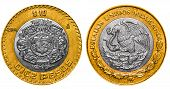 stock photo of pesos  - 10 Mexican Pesos back and front close up - JPG