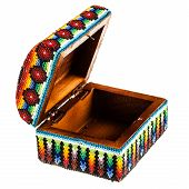 pic of casket  - a mexican colorful casket isolated over a white background - JPG