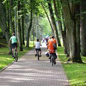 pic of bike path  - Cyclists ride along bike path in park - JPG