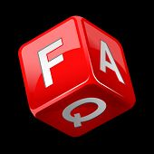 picture of faq  - dice faq icon isolated on black - JPG