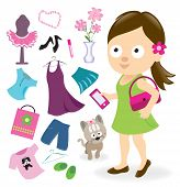 stock photo of spoiled brat  - Illustration of a girl and her stuff - JPG