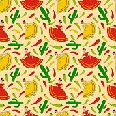 pic of mexican fiesta  - funny vector seamless pattern with happy dancing mexican women cactus and green yellow and red chili peppers - JPG