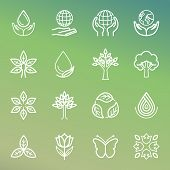 stock photo of outline  - Vector ecology and organic icons and logos in outline style  - JPG