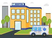 stock photo of ambulance  - Hospital building with emercency ambulance vehicle standing outside - JPG