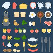 pic of recipe card  - Recipe Card and Cook Book Design Set, Flat Vector Illustration for Your Projects - JPG