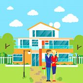 picture of dream home  - couple embracing in front of new big modern house - JPG