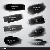 stock photo of stroking  - Vector set of watercolor brushes - JPG