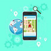 stock photo of gps navigation  - mobile cell phone world map gps globe navigation vector illustration - JPG