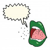 stock photo of sneezing  - cartoon sneezing mouth with speech bubble - JPG