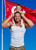 pic of little girls photo-models  - Happy father with little daughter against flag of Turkey - JPG