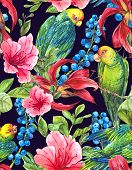 stock photo of jungle flowers  - Watercolor Exotic Seamless Background with Blue berries - JPG