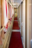 foto of railroad car  - The image of corridor in the compartment car - JPG