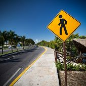 foto of pedestrian crossing  - Pedestrian crossing sign on tropical street, closeup