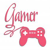 foto of controller  - Game console controller connected to the word gamer - JPG