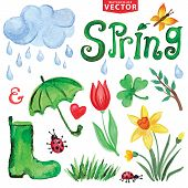picture of rain cloud  - Words Spring with Watercolor leaves and grass - JPG