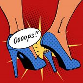 picture of oops  - oops broke the heel the woman a nasty surprise - JPG