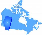 image of pulling  - Map of Canada where Alberta province is pulled out - JPG