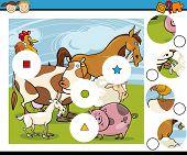 foto of brain teaser  - Cartoon Illustration of Match the Pieces Educational Game for Preschool Children - JPG
