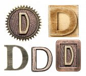 pic of letter d  - Alphabet made of wood and metal - JPG