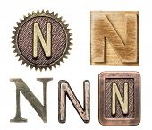 stock photo of letter n  - Alphabet made of wood and metal - JPG