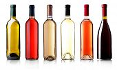 picture of bottles  - Wine bottles in row isolated on white - JPG