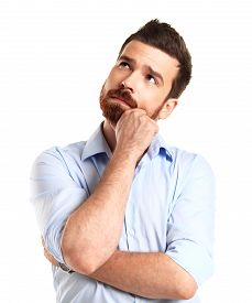 foto of thoughtfulness  - Thinking man isolated on white background - JPG