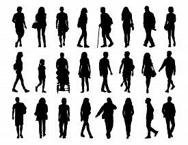 stock photo of ordinary woman  - big set of black silhouettes of men and women of different ages walking in the street front profile and back views - JPG