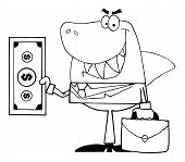stock photo of loan-shark  - Outlined smiling happy shark with money bag - JPG