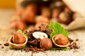 picture of hazelnut  - hazelnut with chocolate bars and green leaves on old wooden background