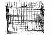 Pet crate. Pet cage. isolated on white. room for text.  poster