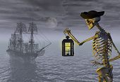 stock photo of pirate ship  - A skeleton pirate awaits the return of his ghost ship  - JPG
