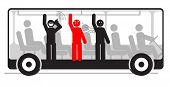 stock photo of stinky  - Vector illustration of angry passenger in bus with screaming and stinky people - JPG